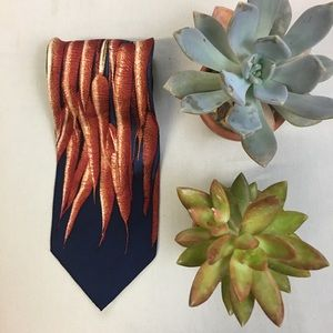 Structure Silk Carrot Print Tie Made in Italy